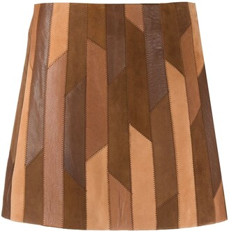 Frame Geometric-Patchwork Mini Skirt