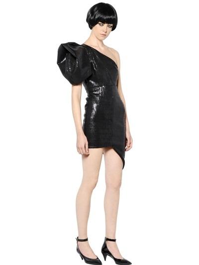 Saint Laurent Sequined Asymmetric Tulle Dress
