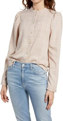 Treasure & Bond Plaid Puff Sleeve Button-Up Shirt