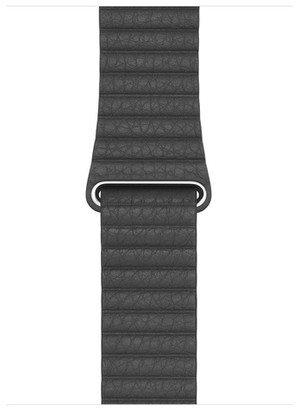 Apple 44mm Black Leather Loop - Medium