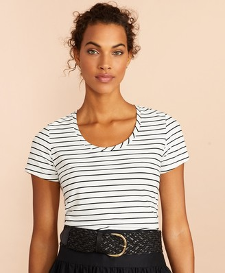 Brooks Brothers Striped Scoop-Neck T-Shirt
