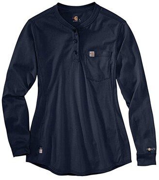 Carhartt Flame-Resistant Force(r) Cotton Long Sleeve Henley (Dark Navy) Women's Clothing
