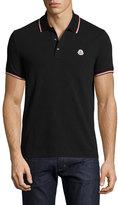 Moncler Tipped Piqué; Polo Shirt, Black