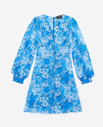 The Kooples Blue short printed dress with buttons
