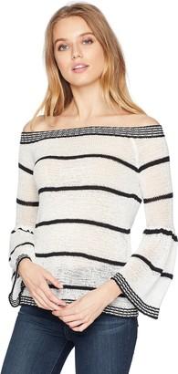 BB Dakota Women's Shelly Striped Off The Shoulder Sweater