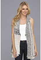 Free People In Your Arms Cardi Vest (White/Grey Combo) - Apparel