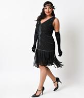 Unique Vintage Plus Size Deco Black Beaded Fringe Aelita Flapper Dress