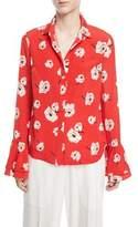 Derek Lam 10 Crosby Long-Sleeve Button-Front Floral-Print Silk Shirt w/ Ruffle Cuff