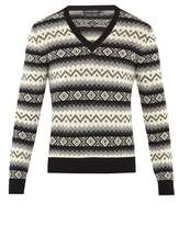 Alexander Mcqueen Striped Geometric Cashmere-knit Sweater
