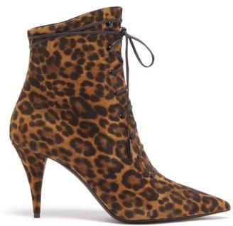 Saint Laurent Kiki Lace-up Leopard-print Suede Ankle Boots - Womens - Leopard