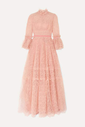 Costarellos Velvet-trimmed Ruffled Lace Gown - Pink
