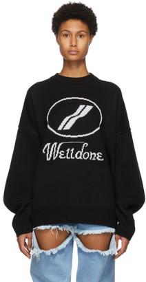 we11done Black Wool Logo Sweater