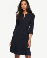 Ann Taylor Petite Belted Fluted Sleeve Dress