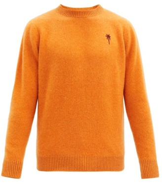 The Elder Statesman Palm Tree-embroidered Cashmere Sweater - Orange