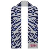 Kenzo KidsGirls Grey Tiger Stripe Knitted Scarf
