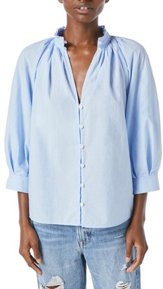 Frame Pleated Cotton Blend Blouse