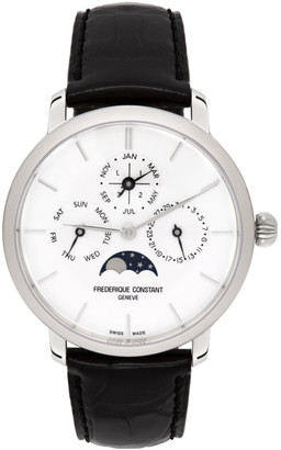Frederique Constant Silver and Black Slimline Perpetual Calendar Watch