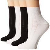 Hue Scalloped Tipped Socks 4-Pack Women's Crew Cut Socks Shoes