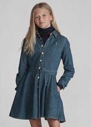 Ralph Lauren Belted Cotton Denim Shirtdress