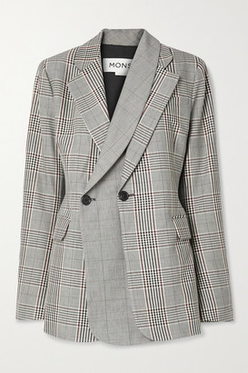 Monse Layered Double-breasted Prince Of Wales Checked Wool-blend Blazer - Gray