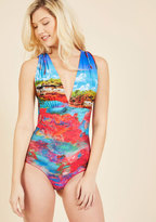 Lagoon-Side Lounge Reversible One-Piece Swimsuit in M