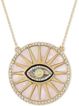 "Rachel Roy Gold-Tone Pave & Stone Evil Eye Burst Pendant Necklace, 20"" + 1"" extender"