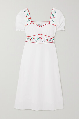 HVN Zoey Embroidered Cotton-blend Poplin Midi Dress - White