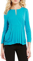 Alex Marie Knit Elaine Y-Neck 3/4 Sleeve Top