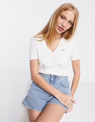 Lacoste core v-neck t-shirt in white