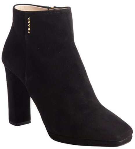 Prada black suede logo detail ankle booties