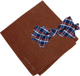 Tommy Hilfiger Men's Grid To-Tie Bow Tie & Dot Pocket Square Set