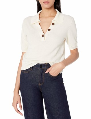 ASTR the Label Women's Collared Short Sleeve Leone Button UP Knit Sweater