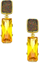 Andara Yellow Cubic Zirconia Baguette Druzy Earrings