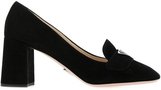 Prada Logo Plaque Chunky Heel Pumps