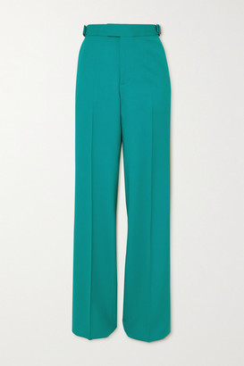ATTICO Wool-blend Straight-leg Pants - Turquoise