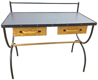 One Kings Lane Vintage Mid-Century Modern Jacques Adnet Desk - Vermilion Designs