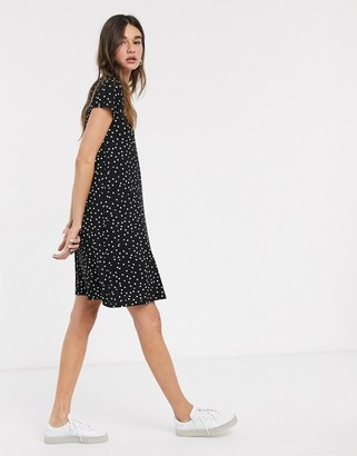 Only Bera black printed lace up back swing dress