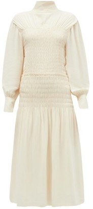 Proenza Schouler Cutout-back Shirred Crepe Midi Dress - Ivory