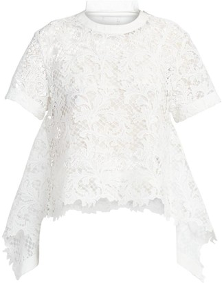 Sacai Embroidered Lace Shirtdress