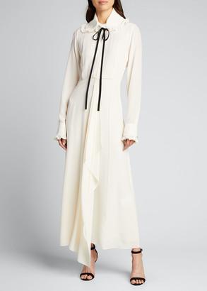 Victoria Beckham Ruffle-Collar Silk Maxi Shirtdress