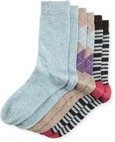 Neiman Marcus Three-Pair Wardrobe Sock Set, Assorted Blue