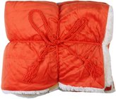 "Simplicity Faux Fur Luxury Lambswool Sherpa Throw Blanket 50""x60"", Orange"