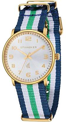 Spinnaker Nantucket Unisex Quartz Watch with Silver White Dial Display on Blue, White and Green Dual Colour Nylon Nato Strap SP-5026-06