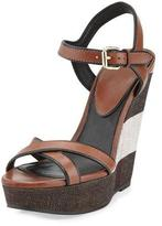 Burberry Whelan Crisscross Check Wedge Sandal, Dark Umber Brown