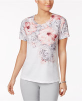 Alfred Dunner Rose Hill Floral-Print Rhinestone Top