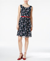 Connected Printed Belted Chiffon Dress