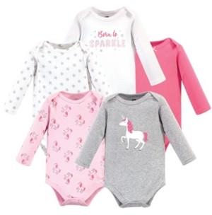 Hudson Baby Baby Girl Long Sleeve Bodysuits, 5 Pack