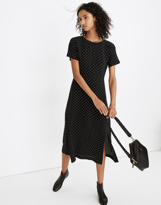 Madewell Silk Crewneck Midi Dress in Polka Dot