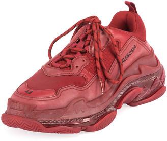 Balenciaga Men's Triple S Clear-Sole Sneakers