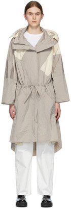 MONCLER GENIUS 2 Moncler 1952 Grey and Off-White Drawstring Oversized Coat